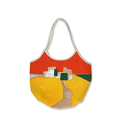 JJH Bolsa de Playa de Lona para Mujeres, diseño de Pintura al óleo, Bolsas de Asas Grandes 3 Bolsas 3 Bolsillos, Damas Adolescentes Bolso 2021 Verano (Color : E, tamaño : 48x30cm)
