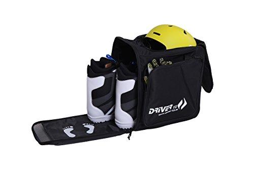 Driver13 ® Skistiefelrucksack mit Helmfach + Skischuhrucksack mit Helmfach für Hart + Snowboard Boot + Inliner + Bootbag Tasche schwarz