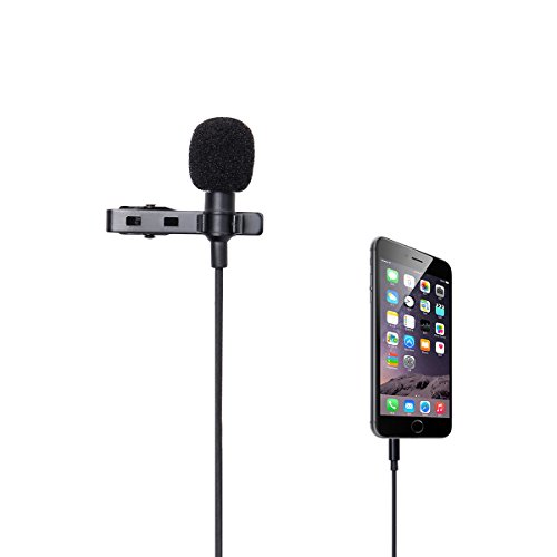 LANMU Lavalier Lapel Microphone,Lavalier Microphone,Omnidirectional Condenser Microphone for iPhone6/6Plus/6sPlus,iPad iPod Samsung All Smartphones (5 Feet /3.5mm TRRS Jack)