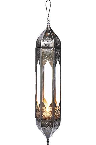 Orientalisches Glas Windlicht Hängewindlicht Glas Bariya Klar 43 cm groß | Orientalische Glas Teelichthalter mit Henkel orientalisch | Marokkanische Windlichter hängend als Hängewindlichter