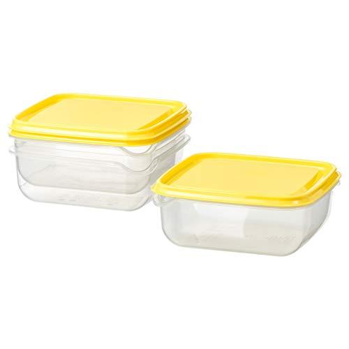 IKEA PRUTA Lebensmittelbehälter transparent-gelb 3er Pack