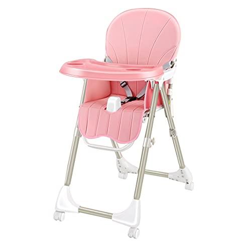 Seggiolone Pappa,sediolone pappa bimbi per Bambini da 6 Mesi a 15 kg, Pieghevole Compatto, Schienale e Vassoio Regolabile(pink)