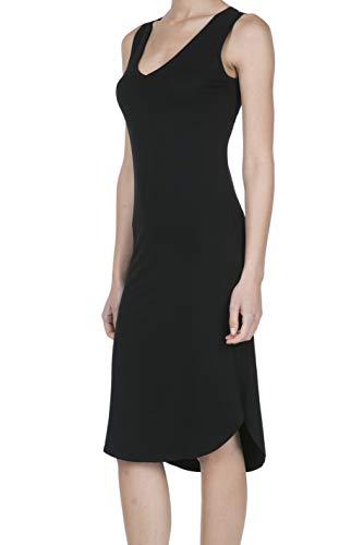 iliad USA Women's Jersey Sleeveless V-Neck Midi Tank Dress