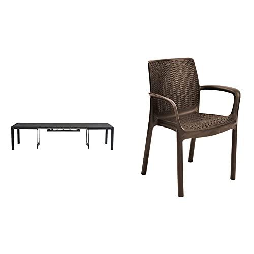 Keter - Set de Mesa Symphony y sillas Bali (Mesa + 6 Sillas), Color marrón