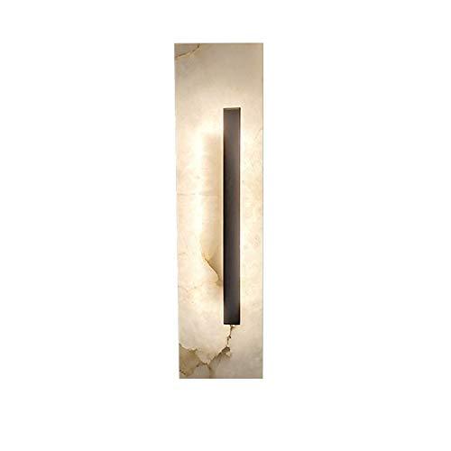 YXLMAONY Moderna lámpara de pared LED de mármol de cobre totalmente montada en la pared, lámparas de decoración de pared de un solo cabezal con rectángulo de pasillo de sala de estar interior, adecuad