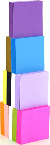 4A Sticky Notes,1 7/8 x 1 7/8 Inches,Small Size,Neon Assorted,12 Colors,Self-Stick Notes,100 Sheets/Pad,12 Pads/Pack,4A 484812-N