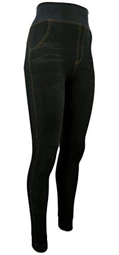 Unbekannt Damen Thermo- Winter- Leggings gefüttert - Jeans Optik in blau o. schwarz - Teddyfutter (36-40, Schwarz)