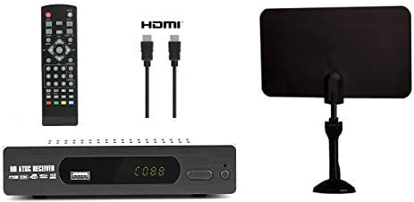 Exuby Digital Converter Box for TV, Flat Antenna, HDMI Cable for Recording & Viewing Free Full HD Digital Channels (I...