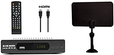 Exuby Digital Converter Box for TV, Flat Antenna, HDMI Cable for Recording & Viewing Free Full HD Digital Channels (Instan...
