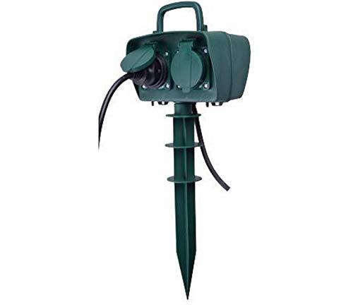 V-TAC VT-1114-3 Gartensteckdose mit Erdspieß 4 Steckdosen 16 A mit Kabel 3M Körper grün IP44 - SKU 8810