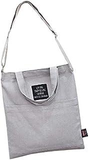 SODIAL Casual Shoulder Canvas Bag Shopping Handbags Canvas Tote Bag Women(Gray)