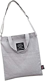 SODIAL Casual Shoulder Canvas Bag Shopping Handbags Canvas Tote Bag Women(Gray)