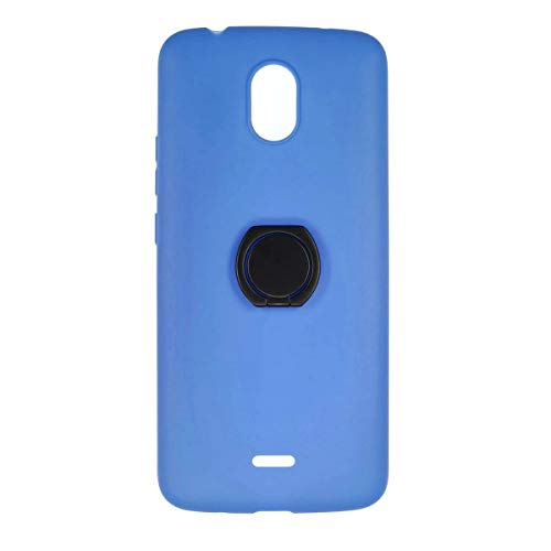 Oujietong Case for Blu View Mega B110DL Tracfone Case Stand TPU Silicone Cover + Metal 360° Rotating Ring Blue