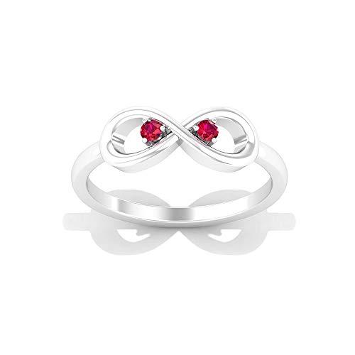 Anillo de rubí infinito, anillo de promesa para ella, simple anillo de oro (2 mm, forma redonda, rubí), 14K Oro blanco, Size:EU 66