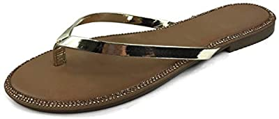 Harper Shoes Women's Crystal Rhinestone Thong Flip-Flop Slip-on Flat Sandal