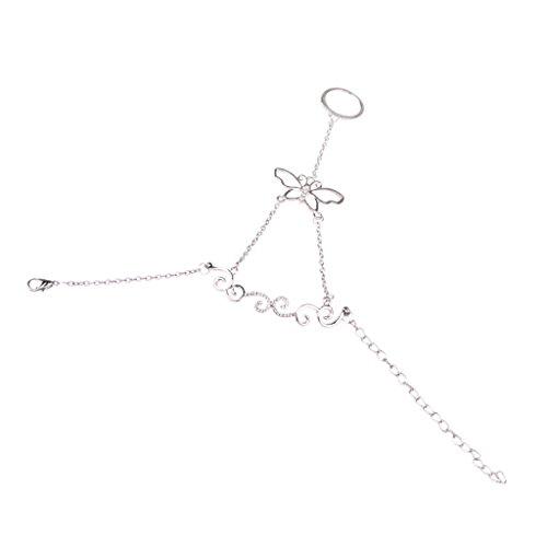La Cadena de Esclavos Pulsera Cristal Eslabón de la Mariposa Arnés Mano el Anillo del Dedo Color Plata