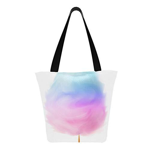 Algodón de azúcar realista de diferentes colores, 11 × 7 × 13 pulgadas, lavable a máquina, resistente bolsa de poliéster para mujeres, bolsa de asas plegable y reutilizable para ir de c