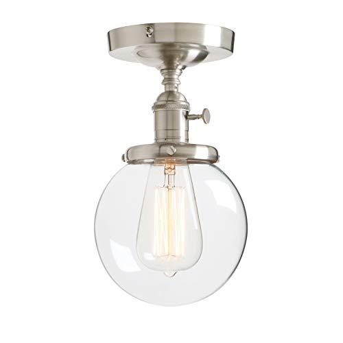 Phansthy Kugel Klarglas Modernes Landstil Pendelleuchte Hängeleuchte Vintage Hängelampen Hängeleuchte Pendelleuchten Loft-Pendelleuchte (Gebürsteter Edelstahl Farbe)
