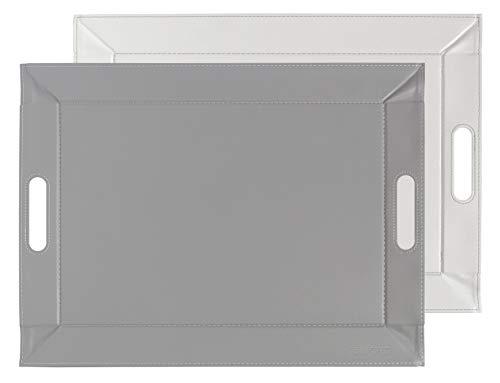 Freeform 2-Tone Reversible Faux Leather Tray, Gris - Blanc, 55 x 41 cm