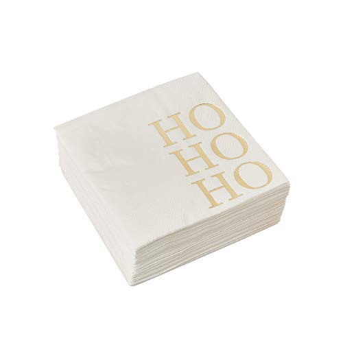 Christmas Party Supplies Ho, Ho, Ho, Gold Foil Paper Napkins (5 x 5 In, 50 Pack)