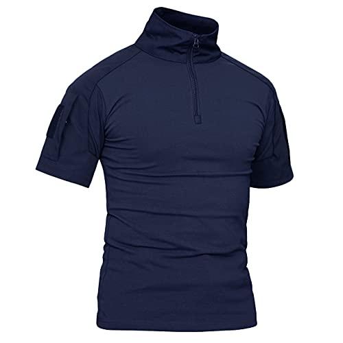 KEFITEVD - Maglietta da uomo, slim fit, militare, tattica 1/4, con cerniera, mimetica, per softair, outdoor, combat T blu marino M