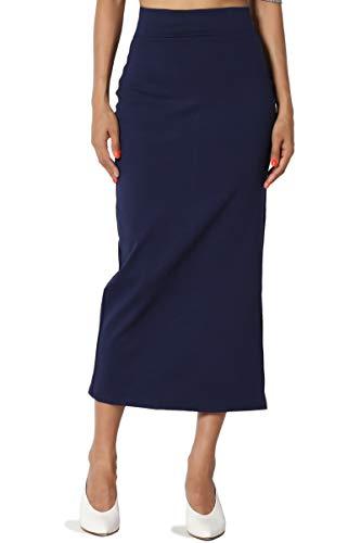 TheMogan Women's Side Slit Ponte Knit High Waist Mid-Calf Pencil Skirt Navy XL
