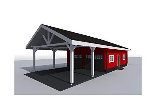 ECOHOUSEMART| Log Garage Kit with Carport for 2 Vehicles | Prefab DIY Building Cabin Home | GLT Engineered Wood Glulam | Gross Area - 1240 Sq. Ft