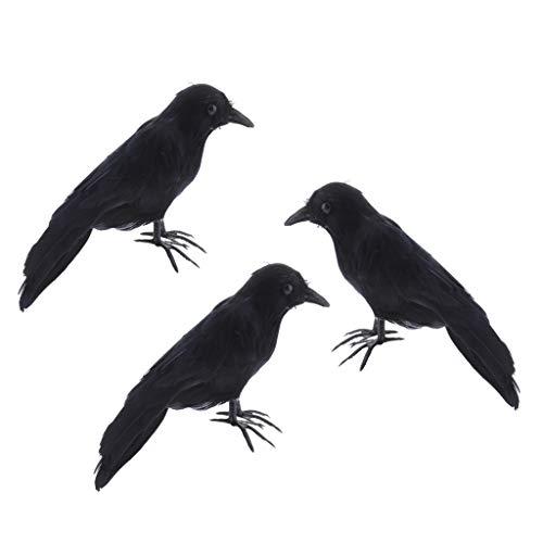 Gazechimp 3X Ornamento Repellente da Giardino per Casetta per Uccelli Finto Corvo Artificiale