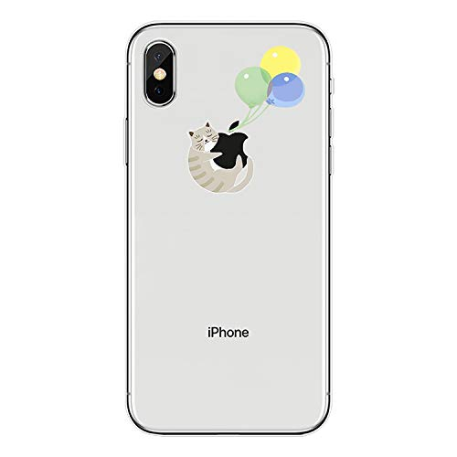 Tybaker Funda compatible con iPhone Xs, funda de silicona TPU funda transparente suave iPhone X funda protectora ultra fina cristal transparente flexible Cover para iPhone Xs Globo para gatos. M