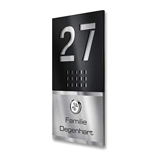 Metzler Edelstahl Türklingel direkt vom Hersteller inkl. Gravur-Service LED Klingeltaster V2A, Klingelplatte, Geschenkidee, Klingelschild - Maße: 110 x 200 mm