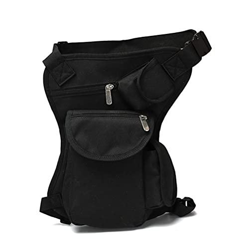 Bolsa para piernas al aire libre, bolsa de hombro para correr, bolsa de mensajero impermeable, bolsa de herramientas de tela Oxford adecuada para pesca, camping, montañismo, ciclismo (negro)