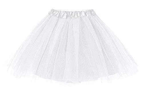 shoperama Deluxe Tüllrock Blickdicht 47 cm lang Gr. 32-40 Erwachsene Tüll-Rock Karneval Verkleidung Petticoat glänzend, Farbe:Weiß