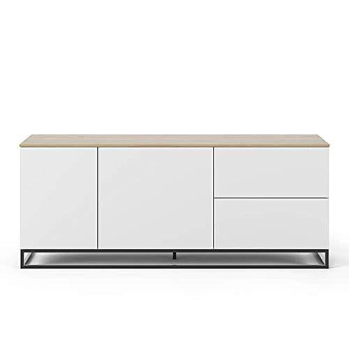 Buffets Design et élégants, Collection Join, signée TEMAHOME. - Join 160L2, piétement Acier Noir, Blanc Mat, Plateau en chêne