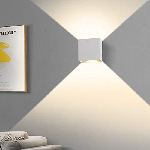 2 Stücke LED Wandleuchte, OOWOLF 6W Up Down Indoor Wandleuchte Moderne Aluminium Wandleuchte Leuchten für Wohnzimmer Schlafzimmer (Weiß 1)