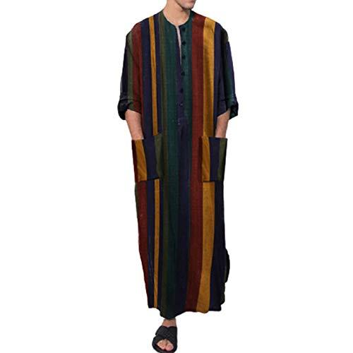 Nachthemd Herren Einteiliger Schlafanzug Nachtwäsche Schlafkleid Lang Baumwolle Schlafshirt Baumwolle Leinen Robes gestreift Modisches mit Rundhals und Knopfleiste Herren Nachthemd Langarm