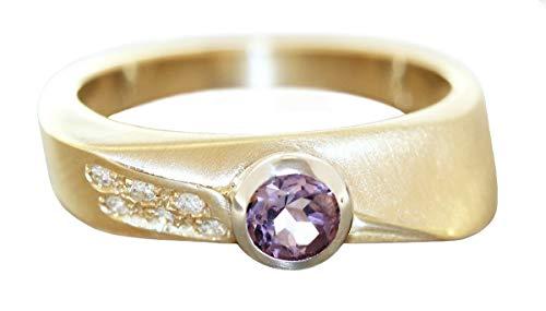 Hobra-Gold Anillo de oro 585 amatista con 6 brillantes para mujer RW 59 anillo de diamante macizo de 14 quilates
