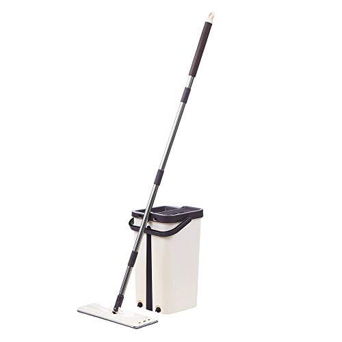 VHGYU Cubo de fregona de suelo con autolimpieza, fregona de secado y escurridor, cubo de limpieza para suelo plano