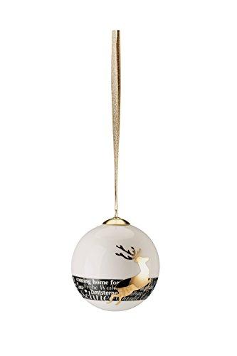Hutschenreuther 02478–725926–27938 Merry Christmas Nordic Red Grande Boule en Porcelaine Cerf, diamètre 8 cm, Porcelaine, 9 x 9 x 10 cm