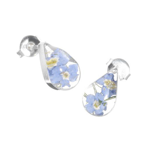 Silver stud Earrings made with real forget-me-nots - Teardrop - Includes giftbox