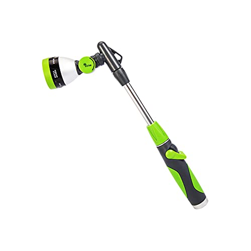 Garden Watering Wand 19 Inches with Pivoting Head, 7 Watering Patterns Water Sprayer Wand with Ergonomic Handle for Watering Seedling Beds, Flowers, Lawn, Shrubs