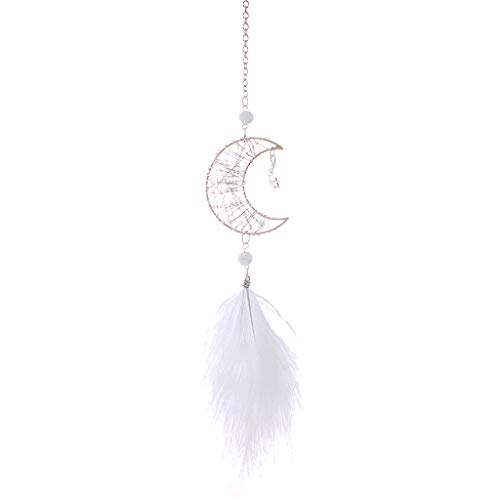 Fan-Ling Hollow Star Creative Moon Feather Car Pendant Hand-Wound Car Pendant, Handmade Dream Catcher Net Hanging Pendant, Wedding Decoration,Home Car Decoration Decor,Feathers Craft Gift (B)