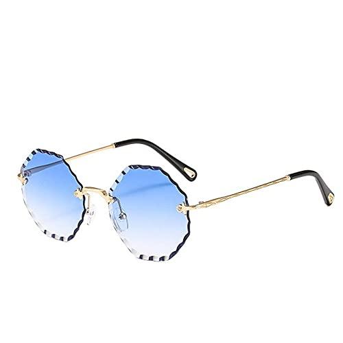 Gafas De Sol Sin Montura De Gran Tamaño para Mujer, Gafas De Sol con Degradado, Gafas De Sol para Hombre Y Mujer, Uv400-Gold_Blue