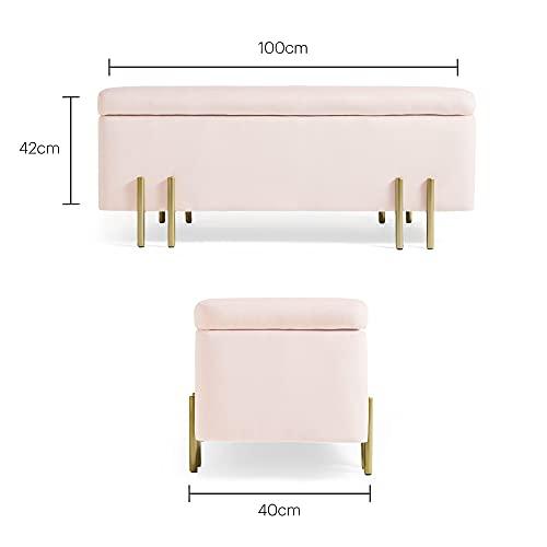 Beautify Aufbewahrungsbank Sitzbank Sitztruhen Footstool Aufbewahrungsbox Ottomane Stuhl Puff für Ankleidezimmer, Wohnzimmer, Schlafzimmer-Rosa Samt - 5