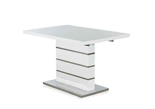 lifestyle4living Esstisch in Weiß, Hochglanz, 120x80 cm, ausziehbarer Säulentisch, Chrom | Esszimmertisch im modernen Style