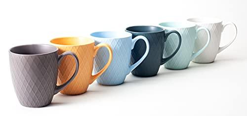 Hanseküche Juego de 6 tazas de café grandes – Tazas de café de cerámica maciza de alta calidad de 400 ml de volumen y asa grande, tazas grandes en varios colores y bonito diseño (multicolor)