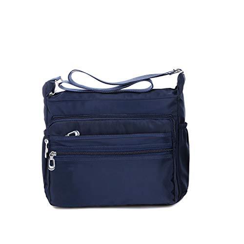 NOTAG Bolso de Hombro Mujer, Moda Bolso Bandolera de Nylon Impermeable Bolso de Mano de Viaje Con Varios Bolsillos, 2 tamaño (S, Azul)