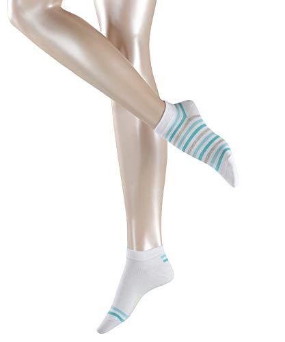 ESPRIT Damen Sneakersocken Multi Stripe 2er Pack - Baumwollmischung, 2 Paar, Weiß (White 2000), Größe: 39-42