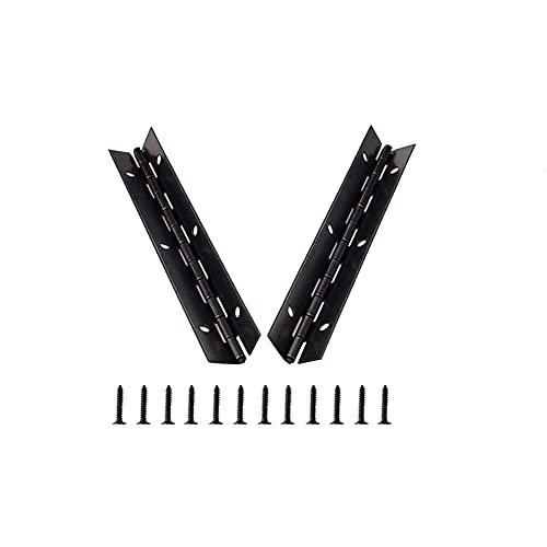 Bisagra Continua de Metal para Piano, KAIISSA 153 x 26 mm Bisagra Larga Chapada 270 Grados Bisagra Negra Abierta para Muebles para Piano, Ppuertas de Gabinete, Ventana Grande, Barco, con Tornillos