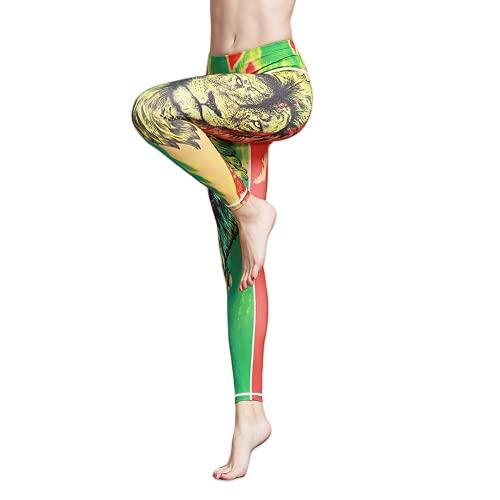 QTJY Leggings de Yoga Florales de Color para Mujer, Pantalones Ajustados de Cintura Alta para Correr, Pantalones Deportivos elásticos para Gimnasio al Aire Libre, B L
