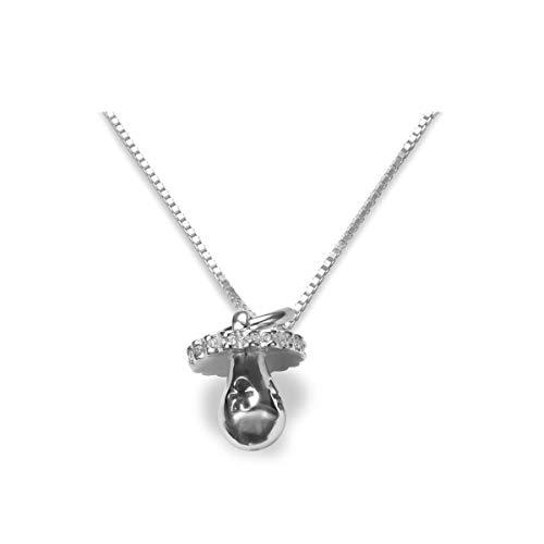 Halskette Anhänger Schnuller Nuckel mit Zirkonia 925 Silber Kettenanhänger rhodiniert - Damen Kinder Schmuck #2007 (mit Kette 55cm)